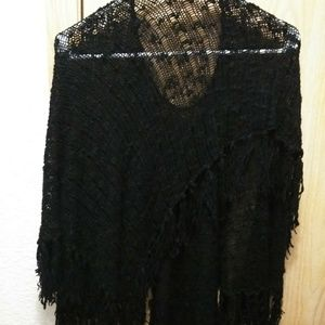 Sweaters - Unique Design & Cut Blac Acrylic Shawl w/ Tassels